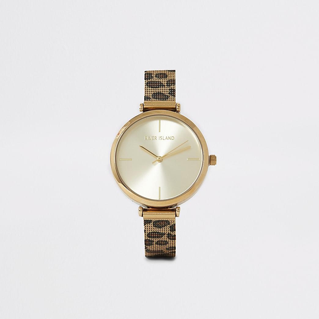 Goudkleurig horloge met mesh bandje met luipaardprint