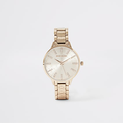 Rose gold diamante RI embossed strap watch