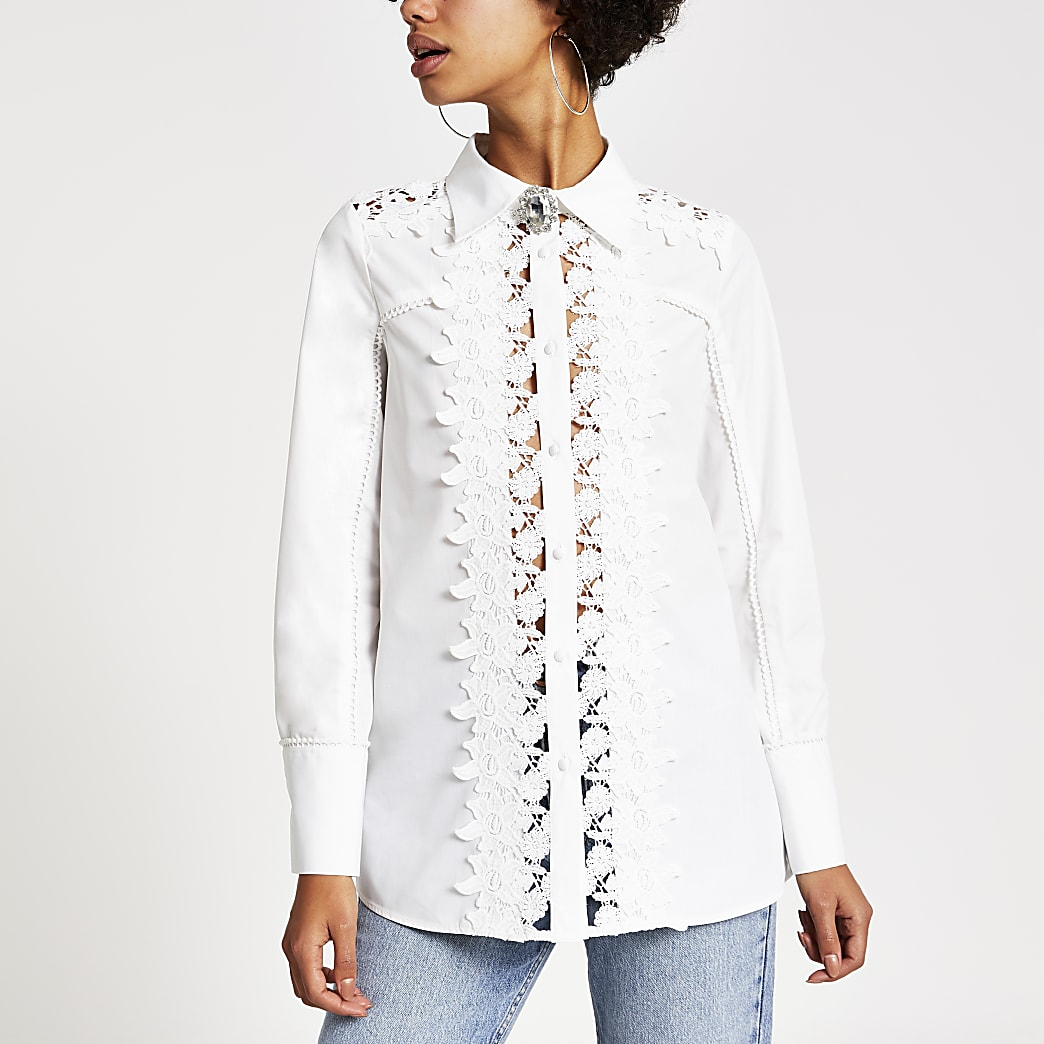 White lace broderie long sleeve shirt