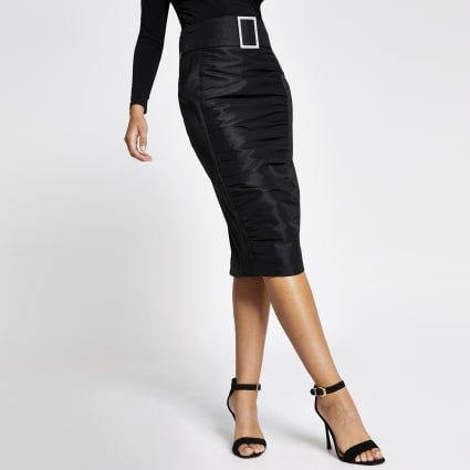 Black diamante belted waist ruched midi skirt