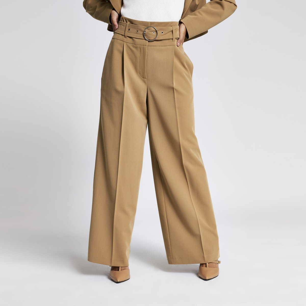 Petite light brown wide leg belted trousers