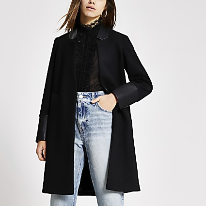 Petite black PU blocked long sleeve coat