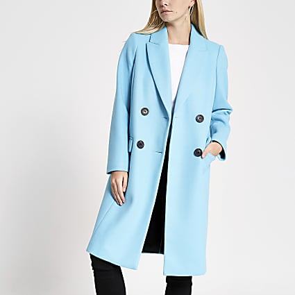 Petite bright blue longline coat