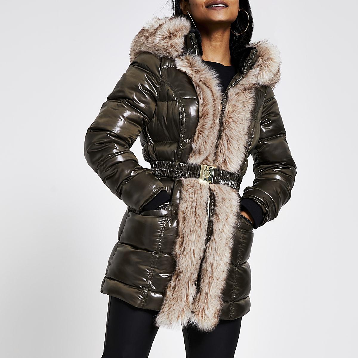 Petite khaki faux fur trim quilted jacket