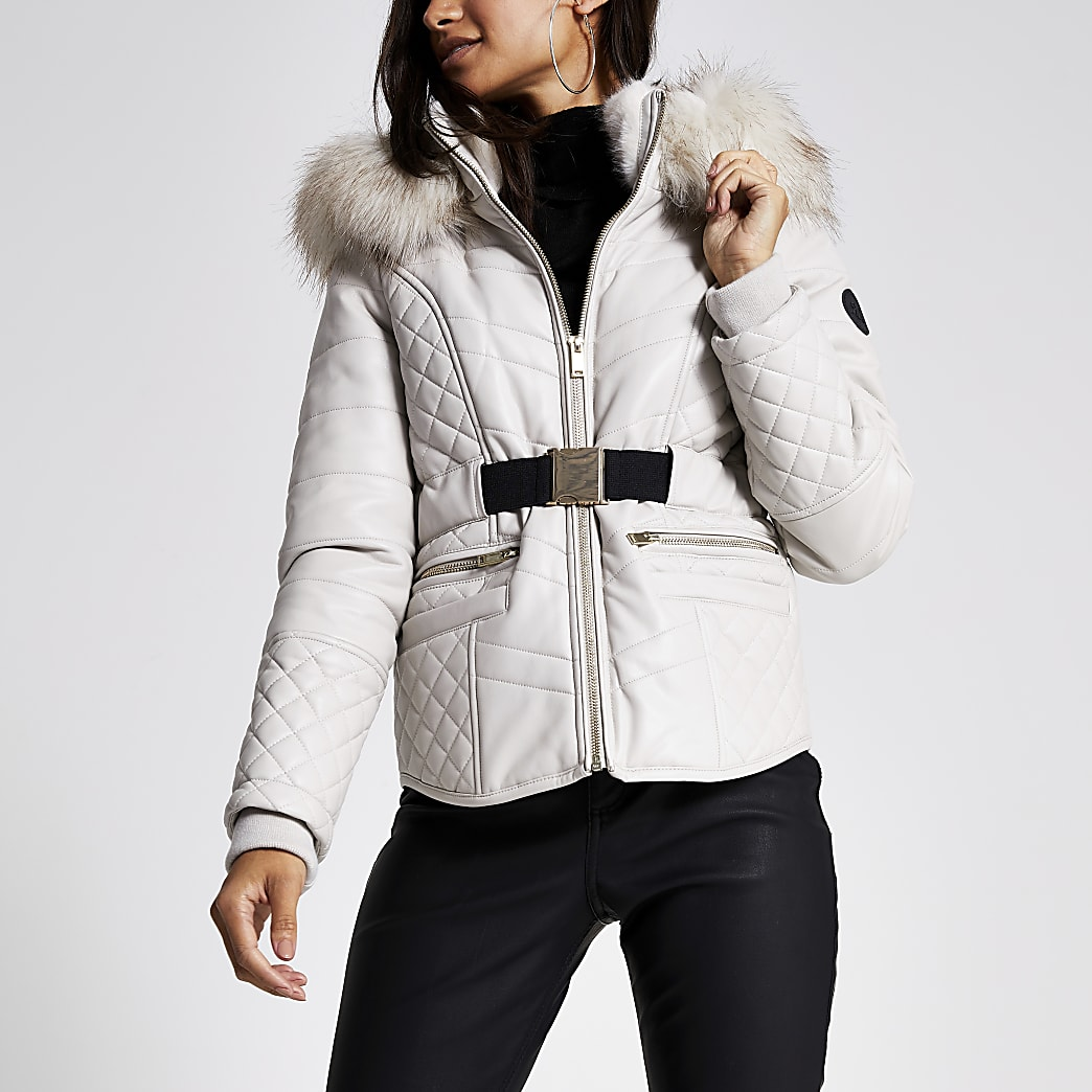 Petite cream faux leather padded jacket
