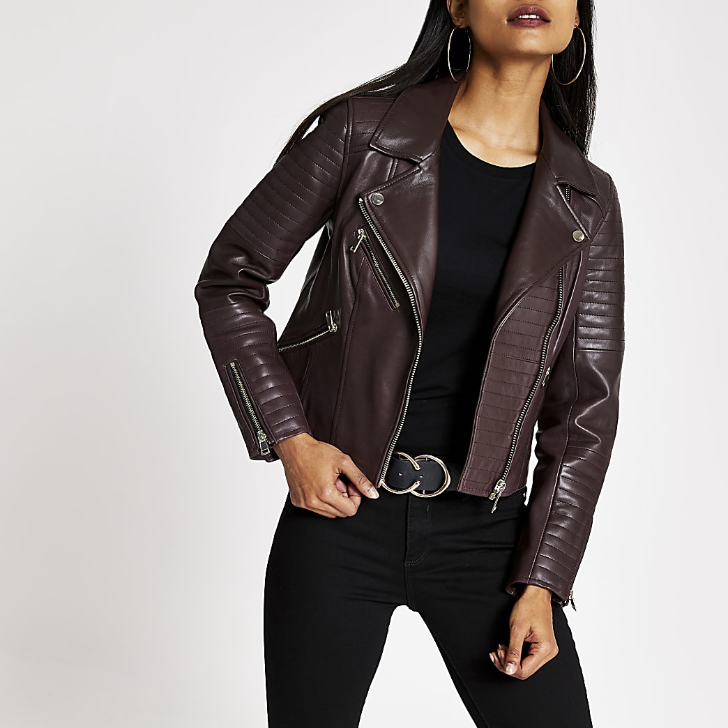 Petite dark red leather biker jacket