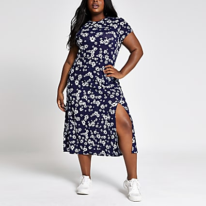 Plus navy floral print midi dress