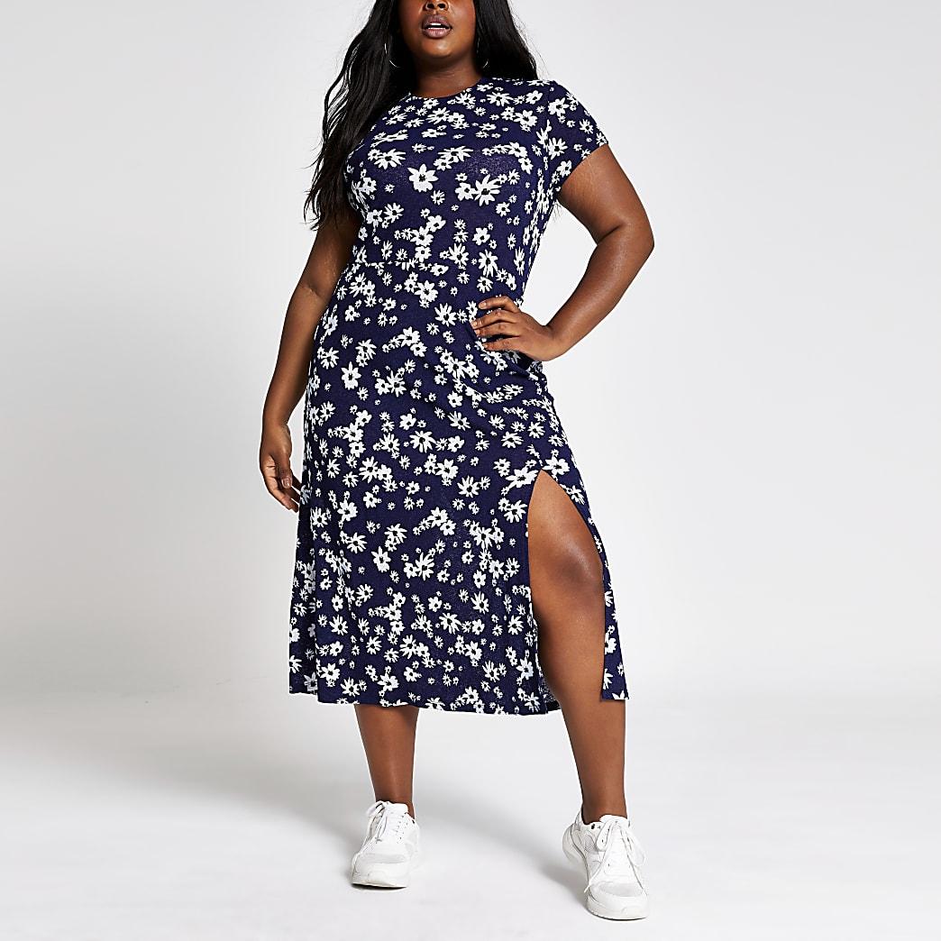 RI Plus - Marineblauwe midi-jurk met bloemenprint