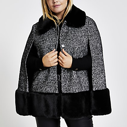Plus black boucle faux fur collar cape coat