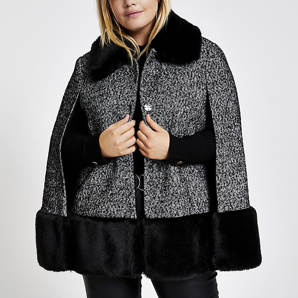 Plus - Manteau cape noir en maille bouclée avec col en fausse fourrure
