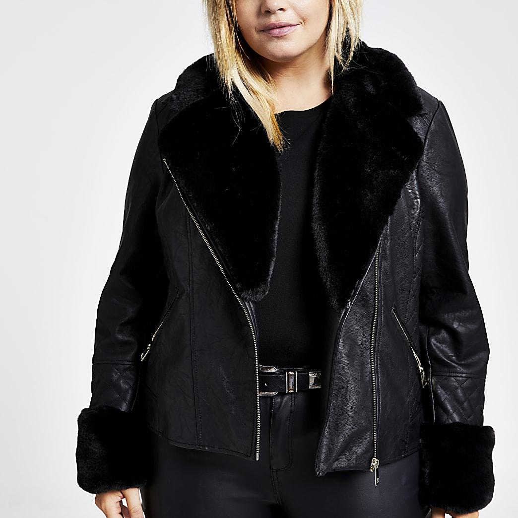 Plus black faux fur quilted biker jacket