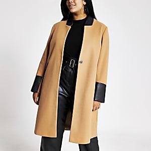 Plus - Manteau long beige colour block
