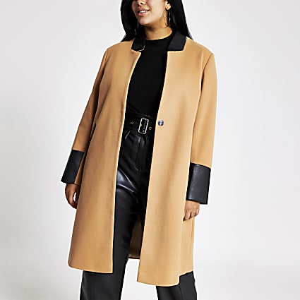 Plus beige blocked longline coat