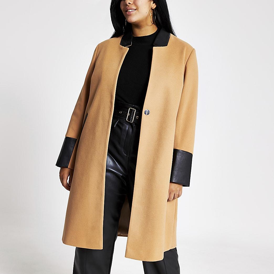 Plus beige blocked longline coat