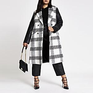Plus – Weiß karierter Longline-Mantel aus PU in Blockfarben