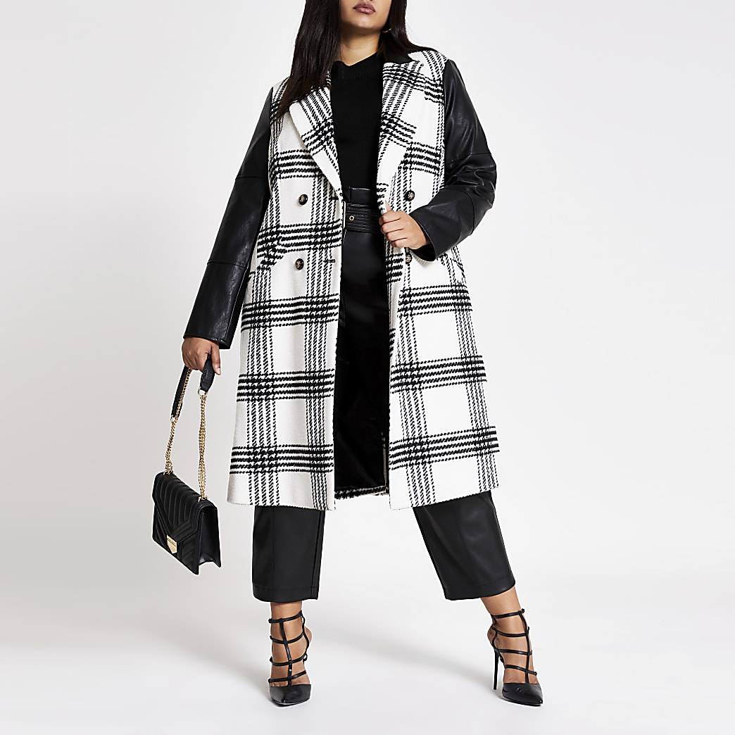 Plus white check PU blocked longline coat