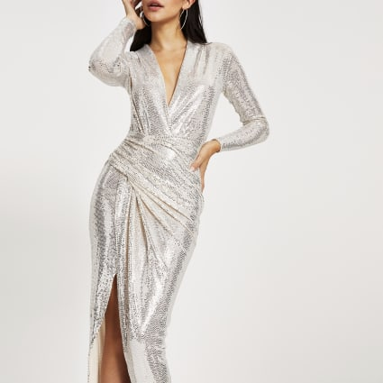 Forever Unique silver sequin wrap midi dress