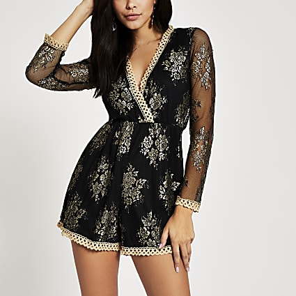 Forever Unique black gold lace playsuit