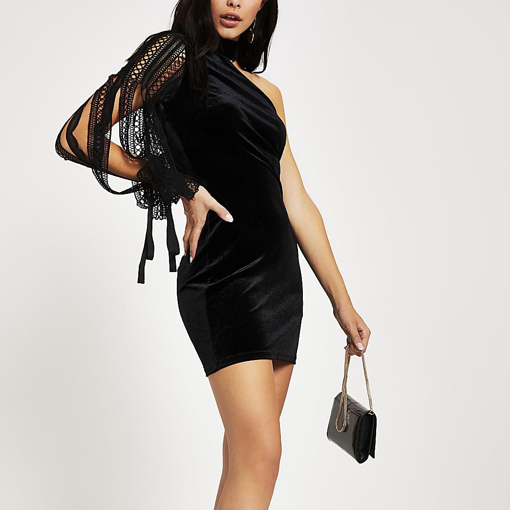 Forever Unique black velvet bodycon dress