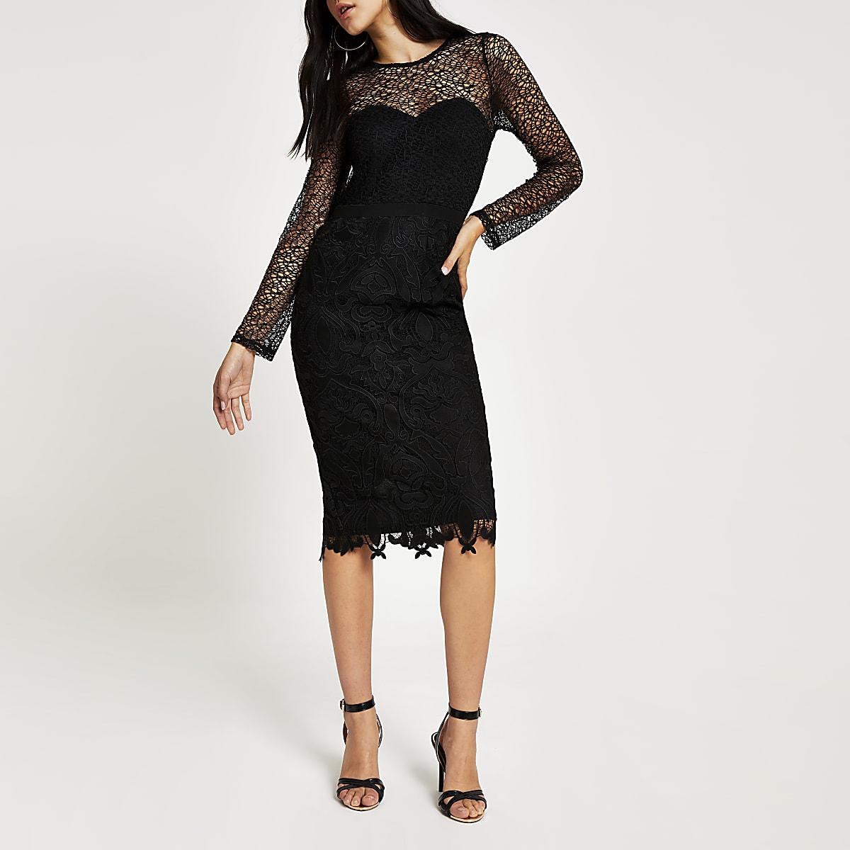 Forever Unique black lace bodycon midi dress