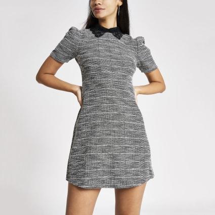 Grey boucle short puff sleeve mini dress