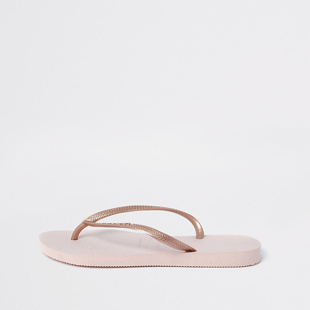 Havaianas light pink slim flip flops