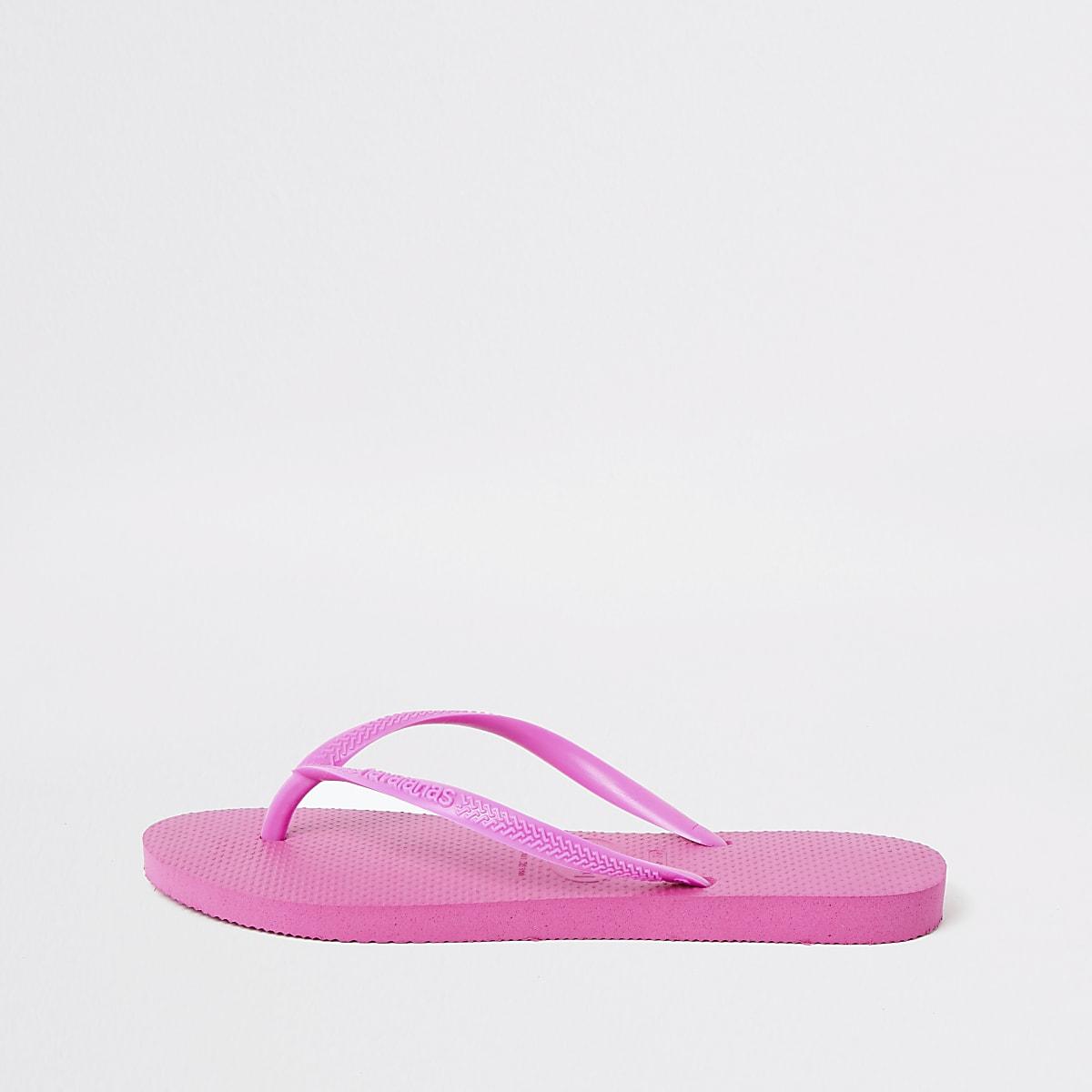 Havaianas bright pink slim flip flops