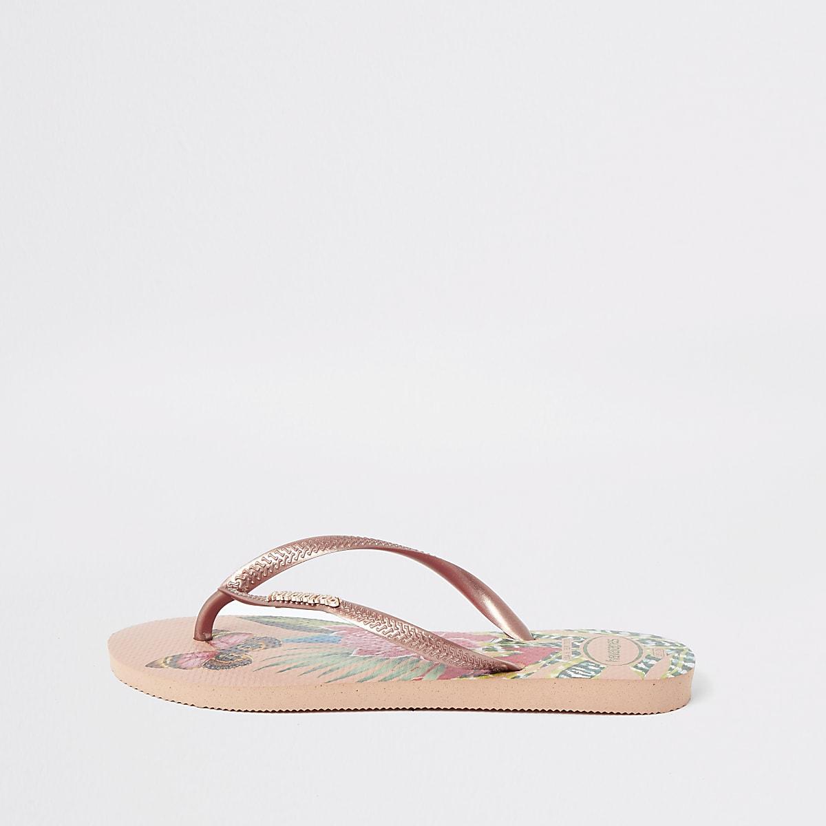 Havaianas tropical print slim flip flops