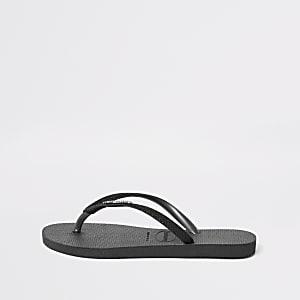 Havaianas black glitter slim flip flops