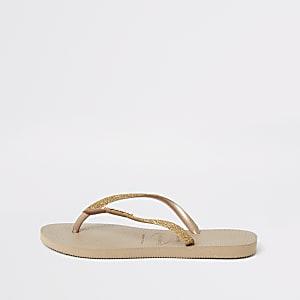 Havaianas gold glitter slim flip flops
