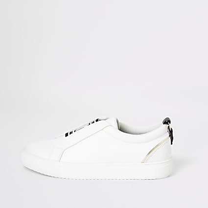 White elasticated slip on trainers