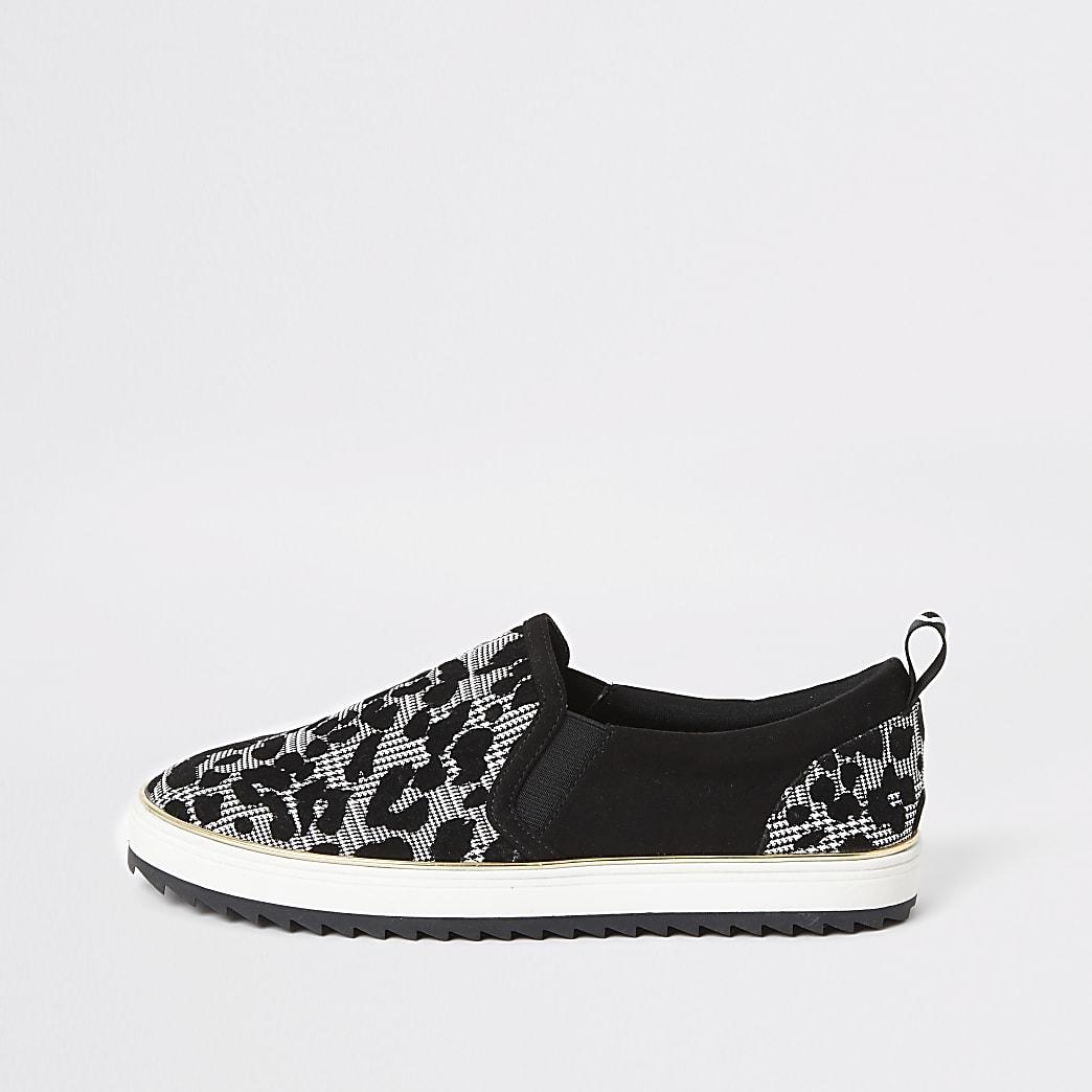 Zwarte slip-on sneakers met print