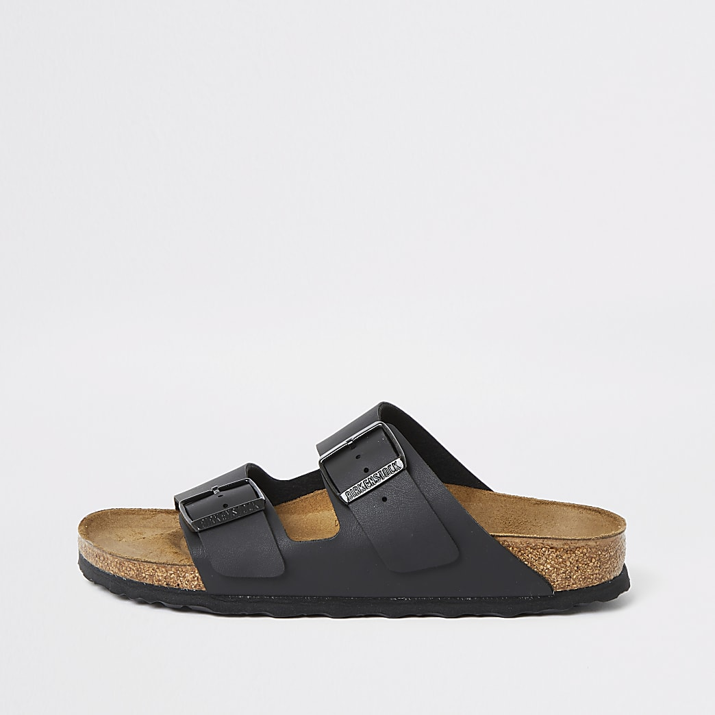 Birkenstock – Arizona – Schwarze Sandalen mit zwei Riemen
