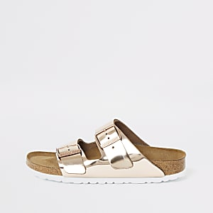 Birkenstock Arizona rose gold sandals
