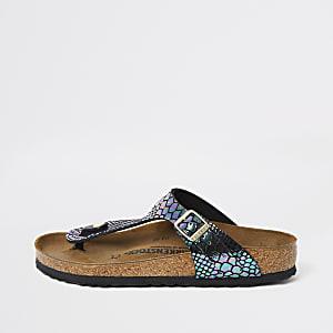Birkenstock - Gizeh sandalen met slangenprint met reliëf