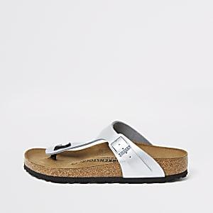 Birkenstock – Gizeh – Silberne Zehensteg-Sandalen