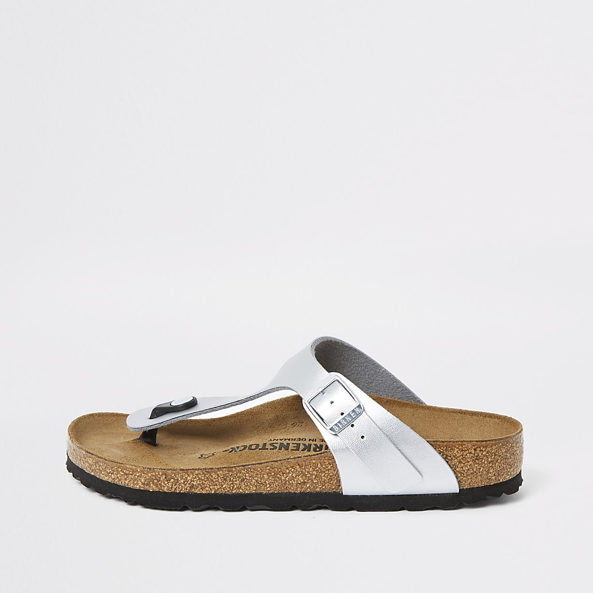 Birkenstock Gizeh silver toe thong sandals