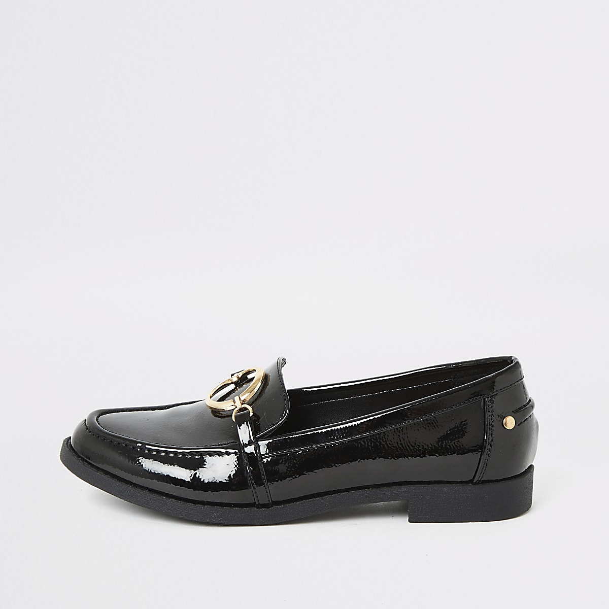 Black patent circle buckle loafer