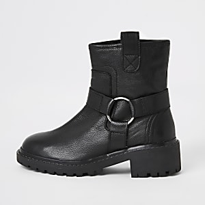 Black leather harness biker boots