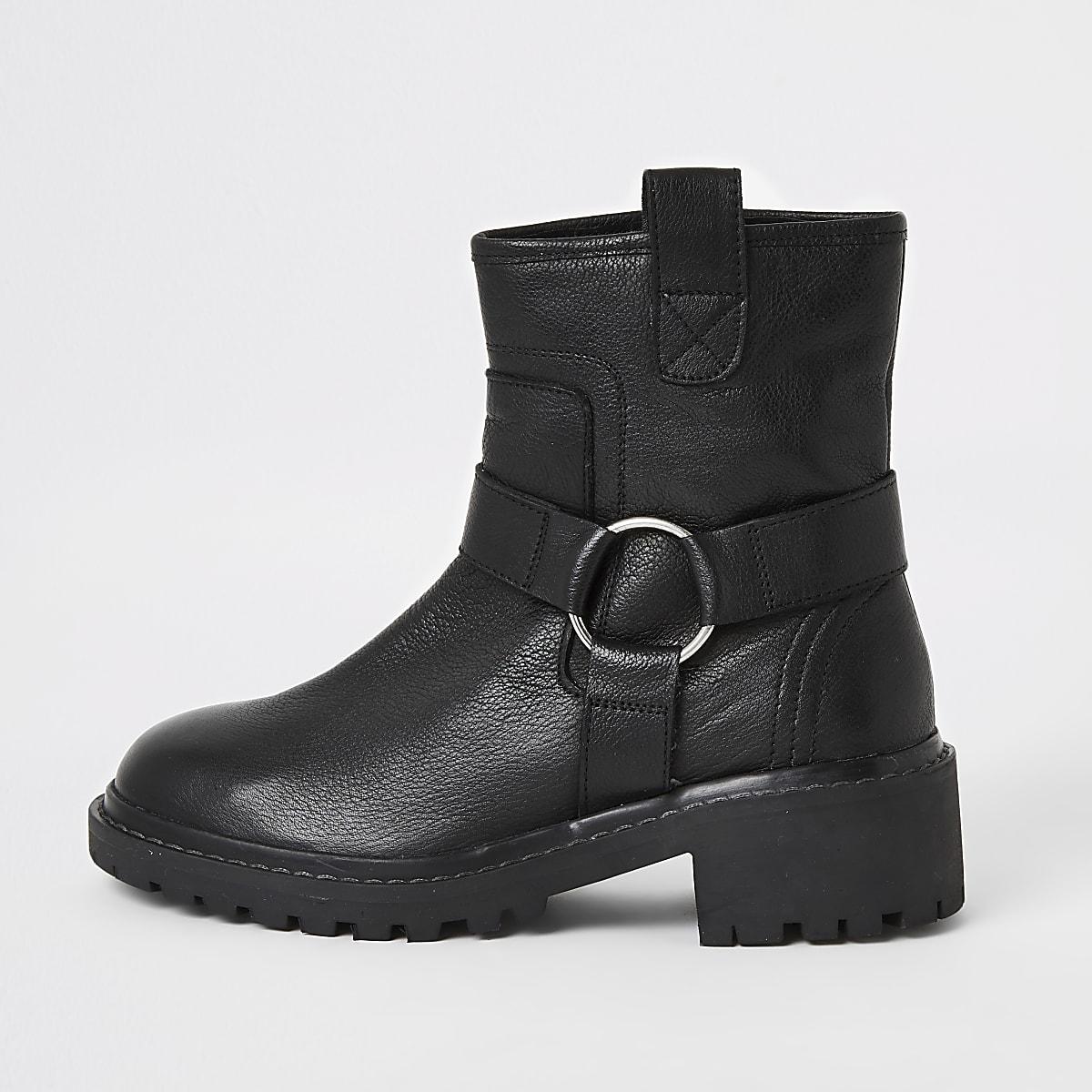 Black leather harness biker boots
