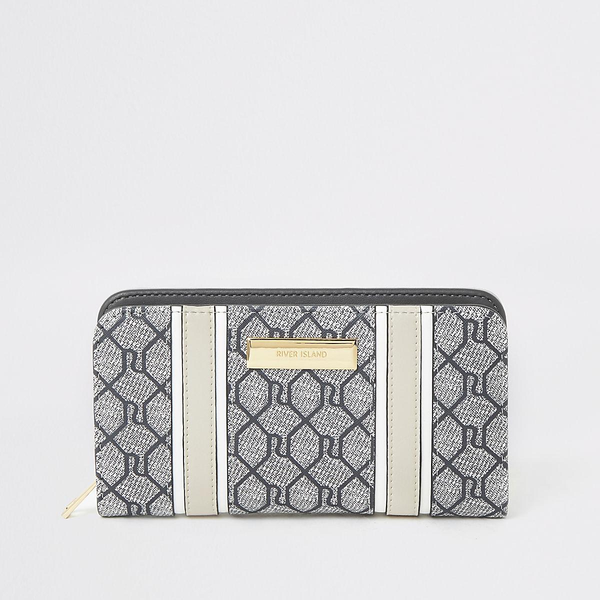 Grey RI monogram zip around purse