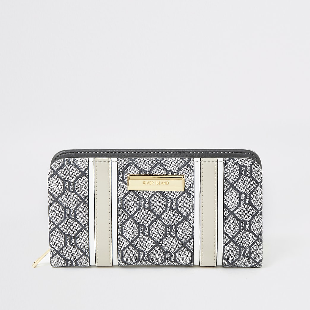 Grey RI monogram zip around purse