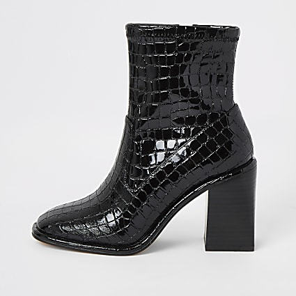 Black croc embossed heeled ankle boots