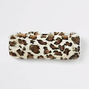 Beige hoofdband van imitatiebont met luipaardprint