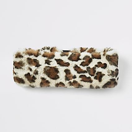 Beige leopard print faux fur headband