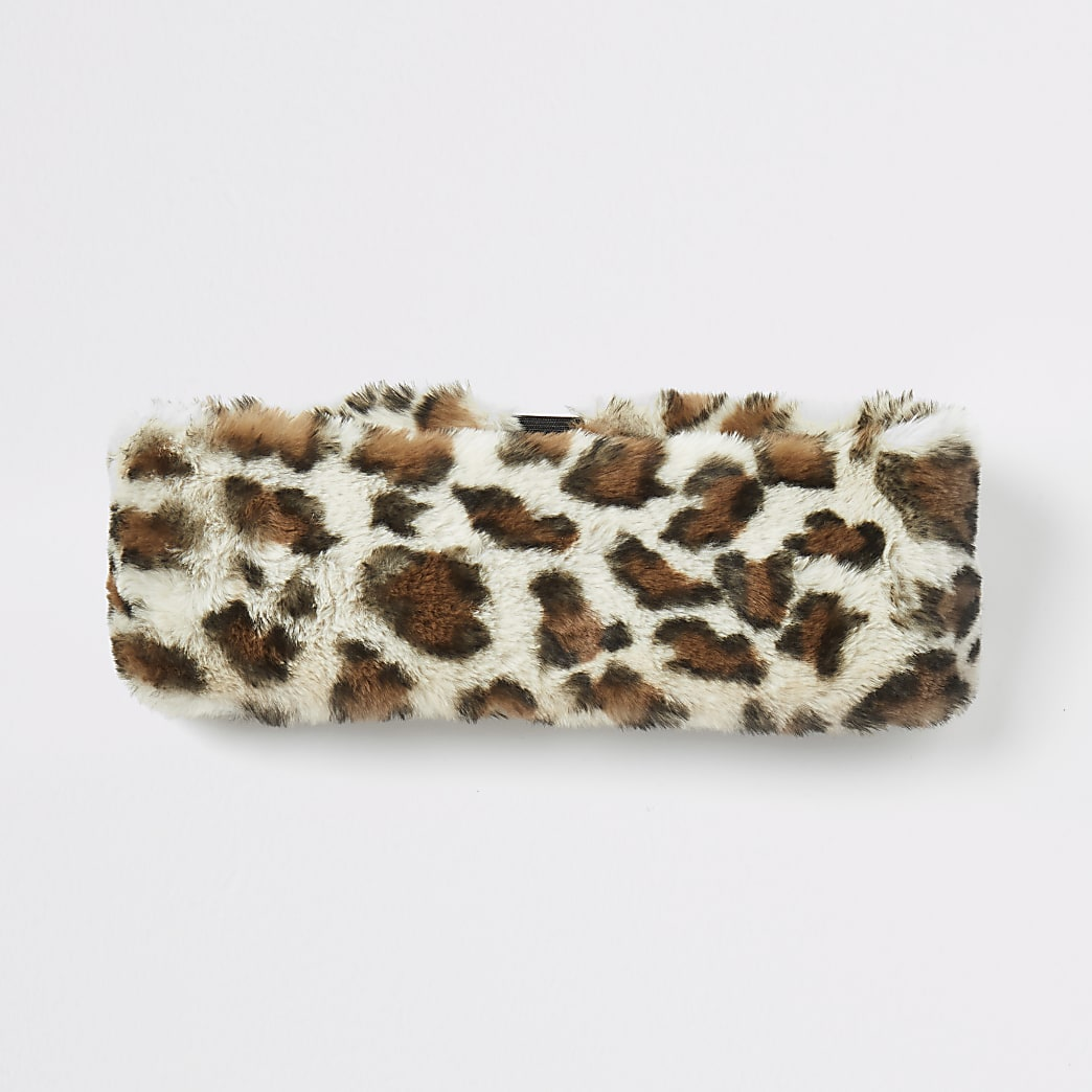 Beiges Haarband aus Kunstfell mit Leoprint