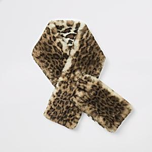 Beiger Schal aus Kunstfell mit Leoparden-Print