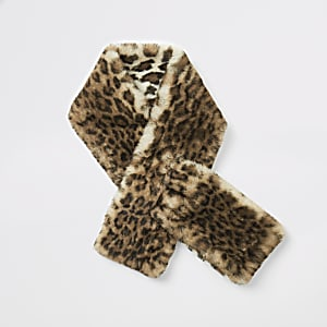 Beige sjaal van imitatiebont met luipaardprint