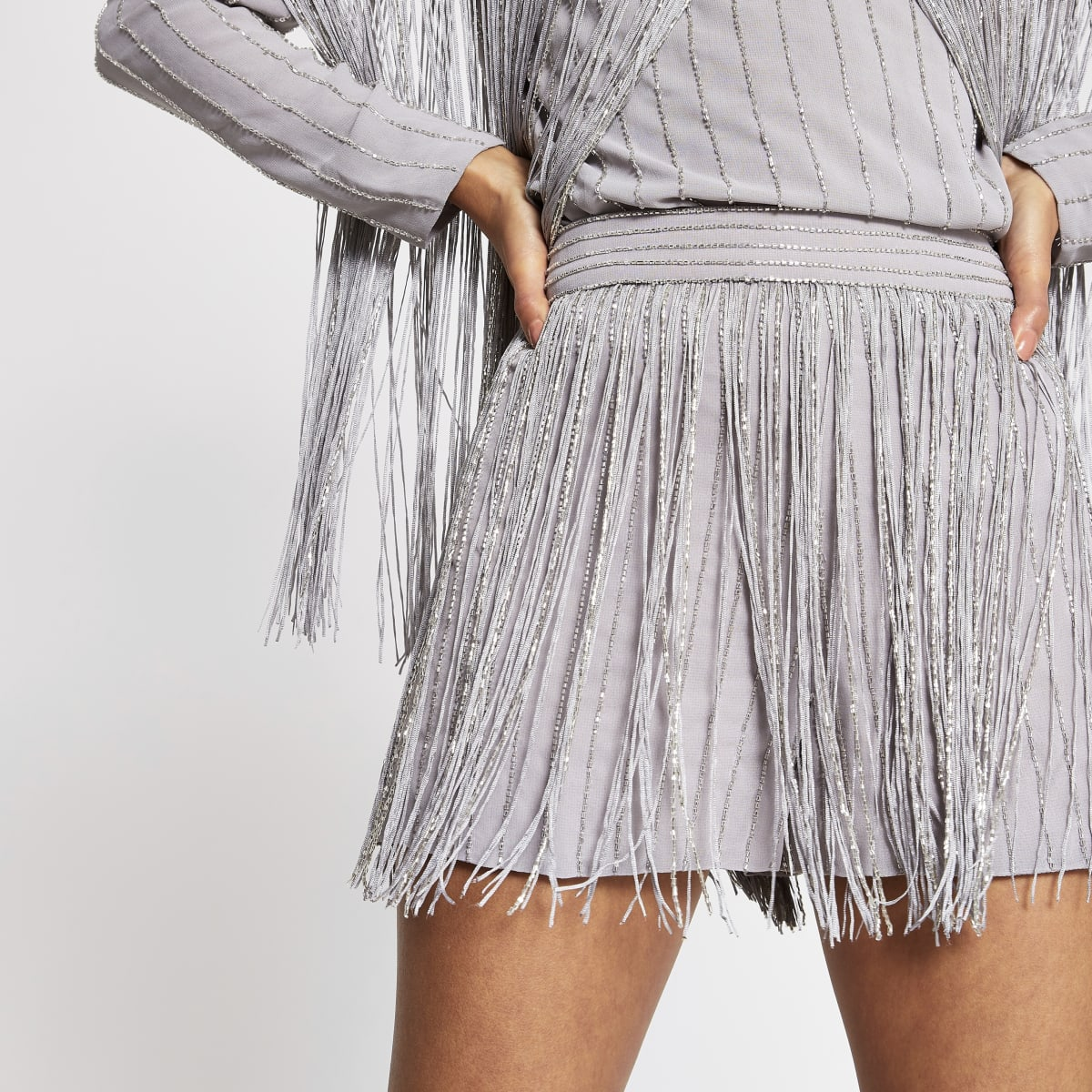 Silver sequin tassel embellished shorts