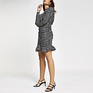 Black spot ruched midi dress